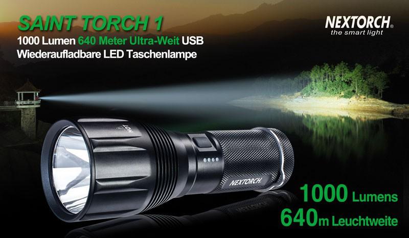 die outdoor led taschenlampe saint torch 1 mit 1000 lumen. Black Bedroom Furniture Sets. Home Design Ideas